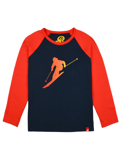 T-Shirt Lone Skier - Dress Blue/Poppy Red