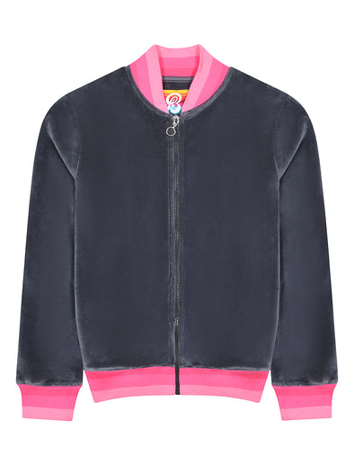 Womens Velour Zip-Up Bomber - Castlerock Grey