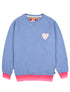 Kids Chenille Heart Sweatshirt - Cool Blue
