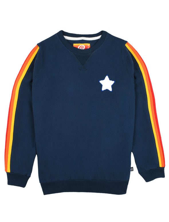 Kids Chenille Star Sweatshirt - Dress Blue