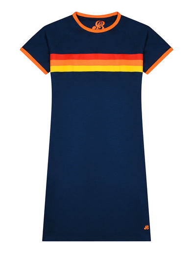 Womens T-Shirt Dress - Dress Blue