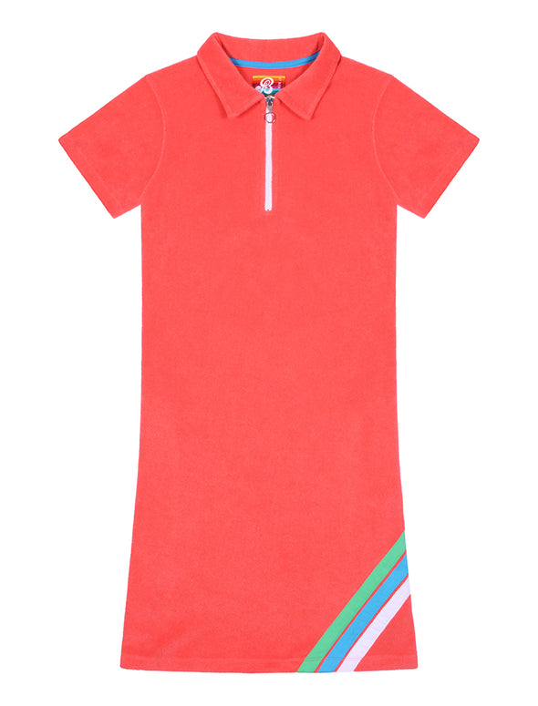 Womens Terry Polo Dress - Coral