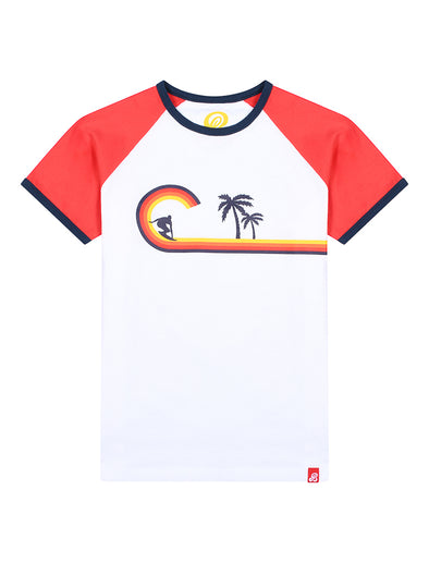 T-Shirt Curve Wave - Optic White/Blaze Red