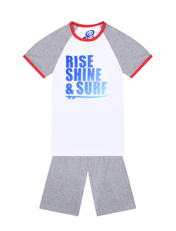 Boy's PJs - Rise, Shine & Surf  - Optic White/Nimbus Grey