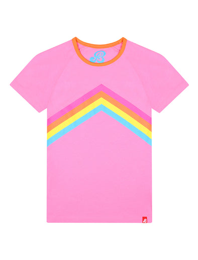 Womens T-Shirt Rainbow Chevron - Sachet Pink
