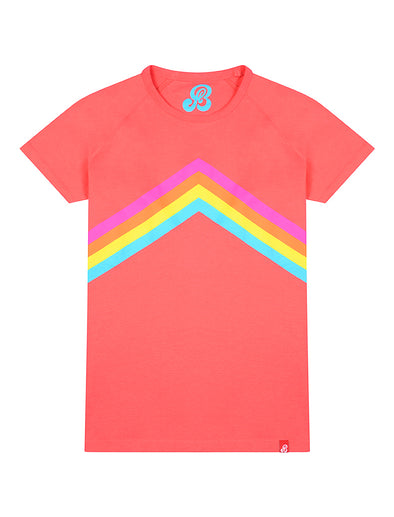 Womens T-Shirt Rainbow Chevron - Coral