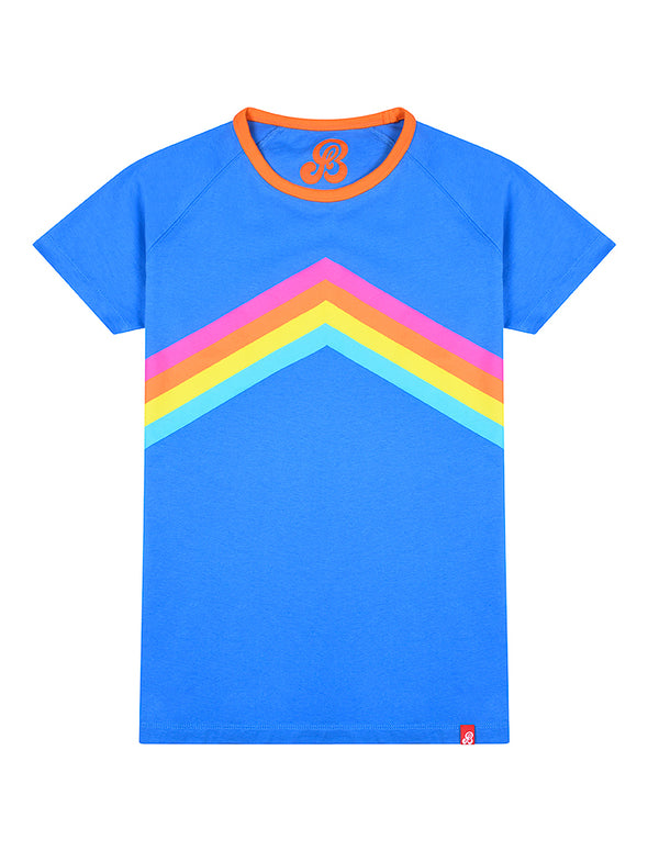 Womens T-Shirt Rainbow Chevron - Marina Blue