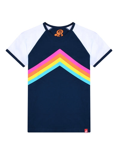 T-Shirt Rainbow Chevron - Dress Blue/Optic White