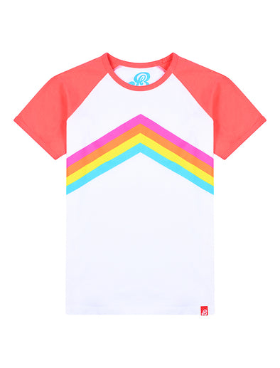 T-Shirt Rainbow Chevron - Optic White/Coral
