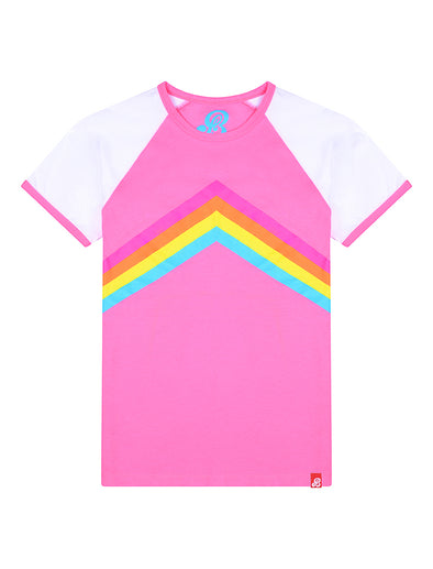 T-Shirt Rainbow Chevron - Sachet Pink/Optic White