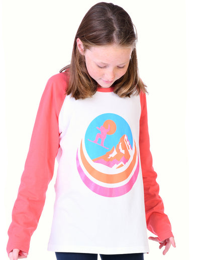 Kids T-Shirt Snowboard - Optic White/Coral