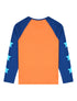 Kids T-Shirt Star Sleeve - Vermillion Orange/Twilight Blue