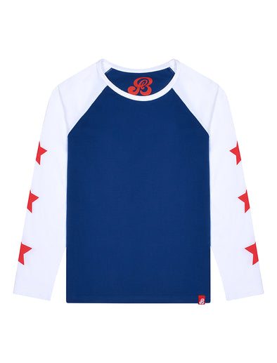 Kids T-Shirt Star Sleeve - Twilight Blue/Optic White