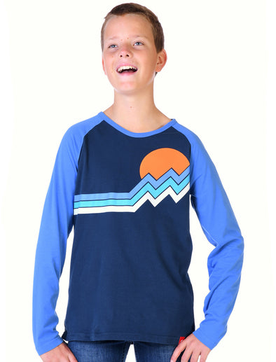 Kids T-Shirt Mountain Stripe - Dress Blue/Marina Blue