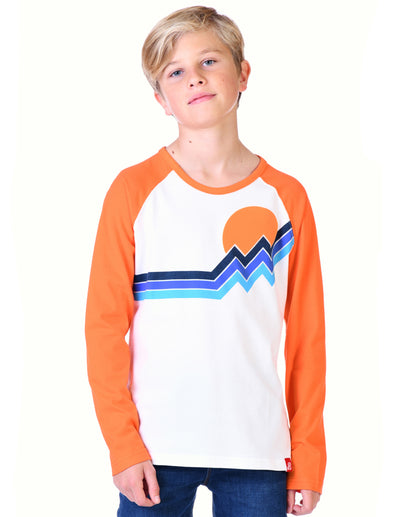 Kids T-Shirt Mountain Stripe - Optic White/Vermillion Orange