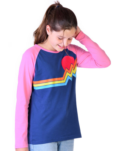 Kids T-Shirt Mountain Stripe - Twilight Blue/Sachet Pink