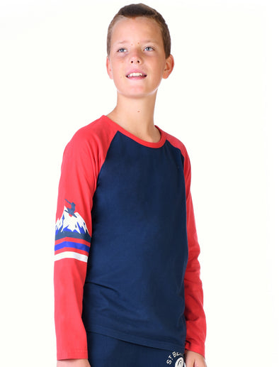 Kids T-Shirt Mountain Sleeve Stripe - Dress Blue/Blaze Red