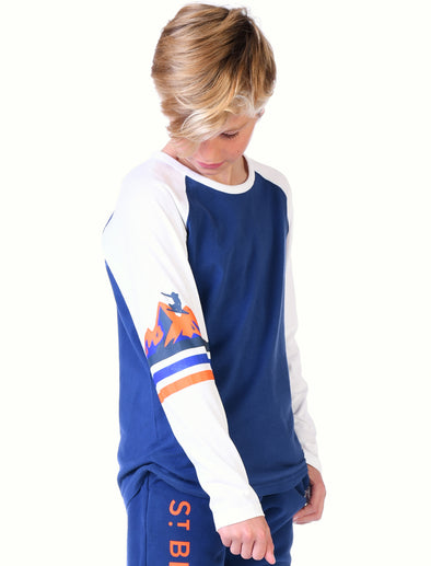 Kids T-Shirt Mountain Sleeve - Twilight Blue/Optic White