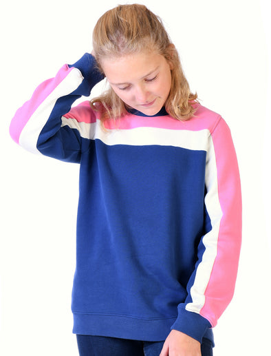 Kids Panel Sweatshirt - Twilight Blue/Sachet Pink