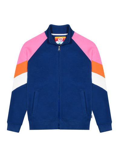Kids Zip Up Chevron Sweatshirt - Twilight Blue/Sachet Pink