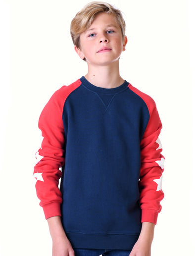 Kids Star Sleeves Sweatshirt - Dress Blue/Blaze Red