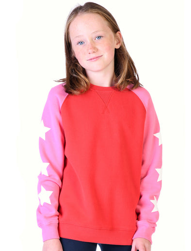 Kids Star Sleeves Sweatshirt - Blaze Red/Sachet Pink