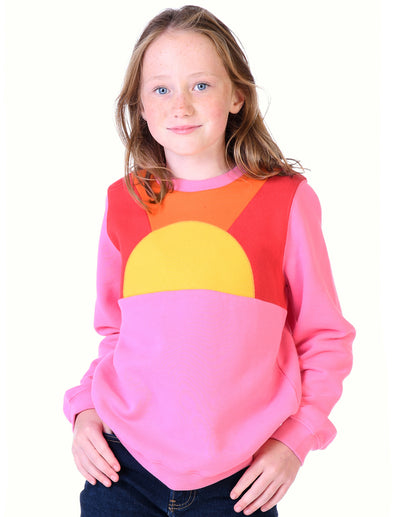 Kids Sunset Panel Sweatshirt - Sachet Pink