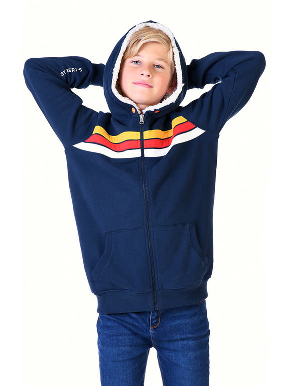 Kids Zip-Up Sherpa Hoodie - Dress Blue