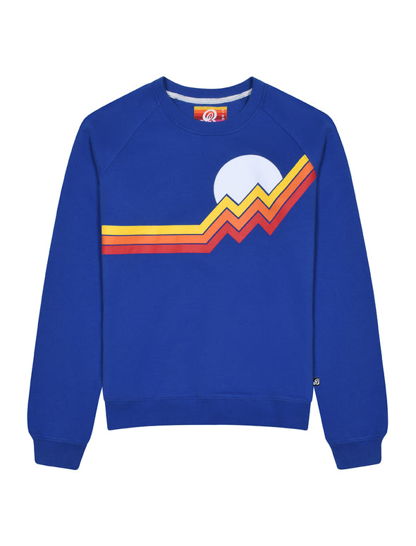 Womens Mountain Stripe Sweatshirt - Dazzling Blue