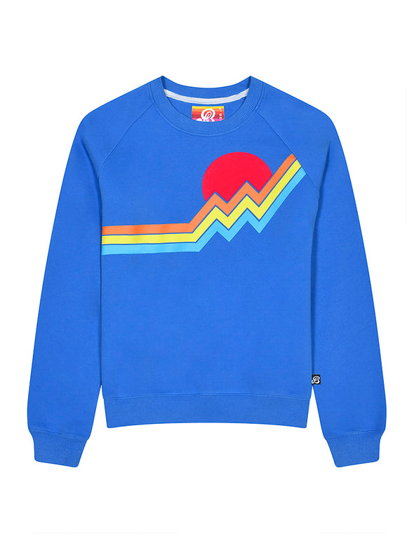 Womens Mountain Stripe Sweatshirt - Marina Blue
