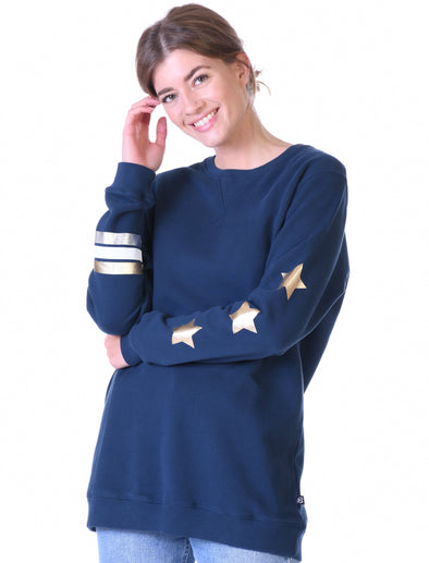 Womens Stars & Stripes Oversized Sweatshirt - Dress Blue