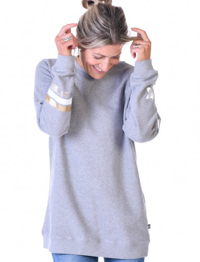 Womens Stars & Stripes Oversized Sweatshirt - Nimbus Grey