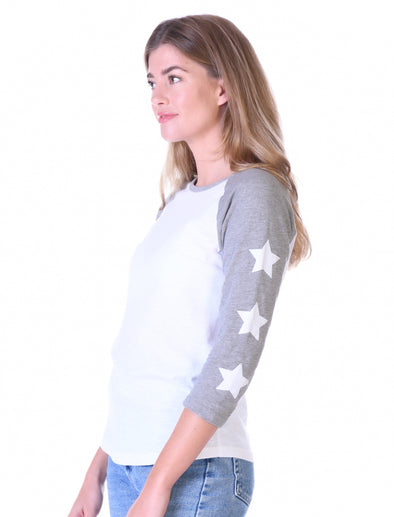 Womens Star Sleeve T-Shirt - Optic White/Nimbus Grey