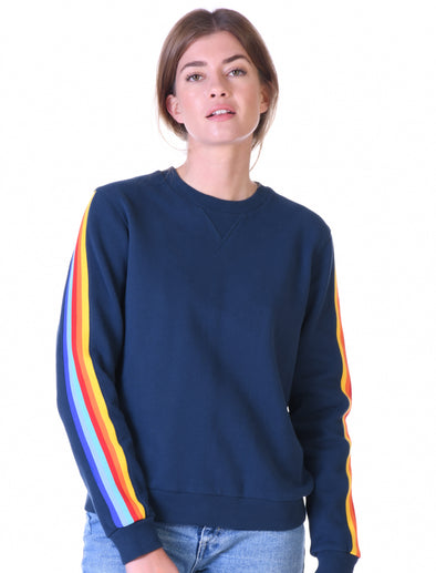 Womens Sleeve Stripe Sweatshirt - Dress Blue