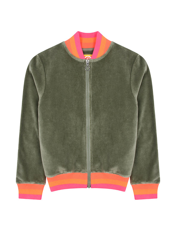 Kids Zip-Up Velour Bomber - Khaki