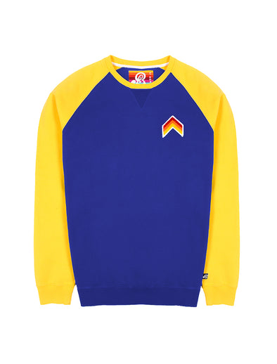 Mens Sweatshirt - Chevron - Twilight Blue/Freesia Yellow
