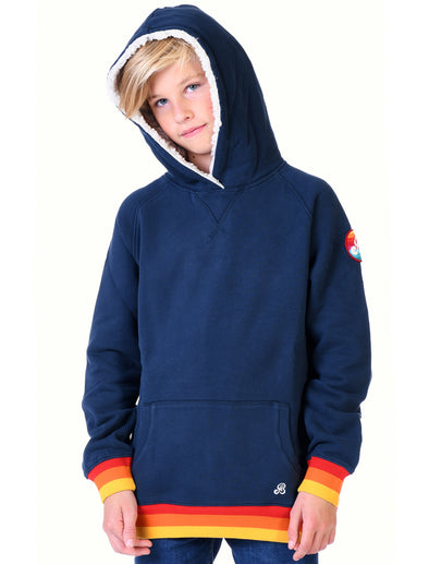 Kids Pullover Sherpa Hoodie - Dress Blue