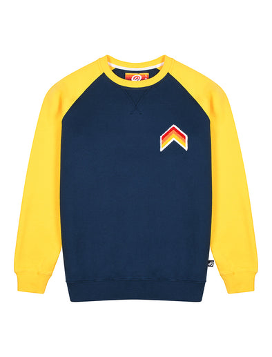 Kids Sweatshirt - Chevron - Dress Blue/Freesia Yellow