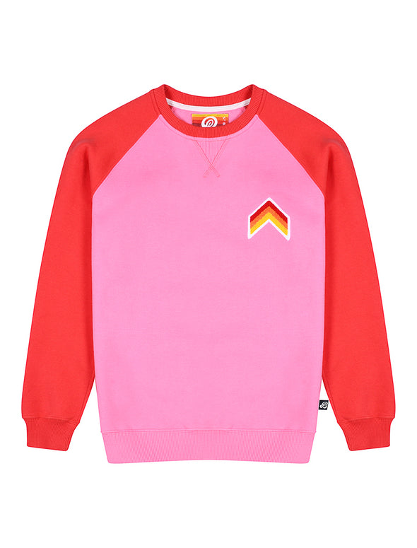 Kids Sweatshirt - Chevron - Sachet Pink/Blaze Red