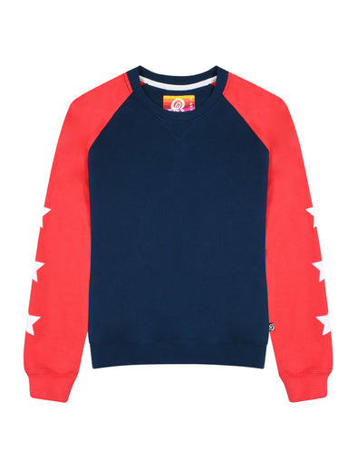 Womens Star Sleeve Sweatshirt - Dress Blue/Blaze Red