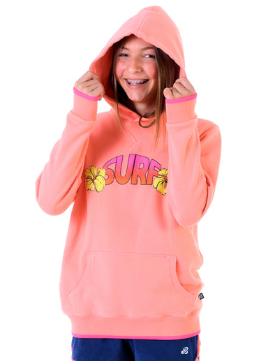 Kids Sunset Hawaiian Surf Hoodie - Fuzzy Peach
