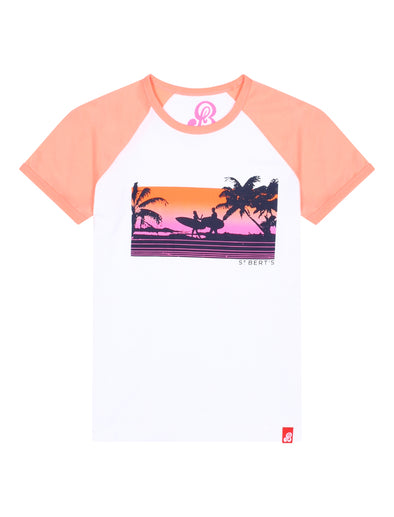 Kids T-Shirt Sunset Surf - Optic White/Fuzzy Peach