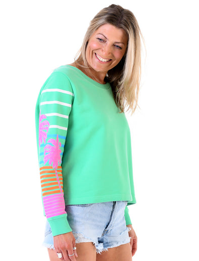 Women's Palm Sleeve Cropped Sweatshirt - Fresh Green