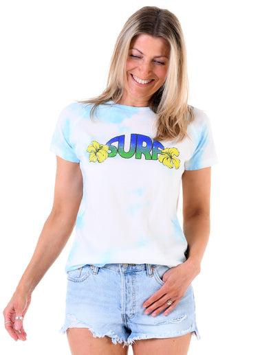 Women's T-Shirt Tie-Dye Surf - Arctic Blue