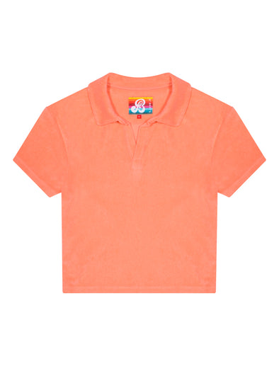 Women's Terry Polo Shirt - Fuzzy Peach