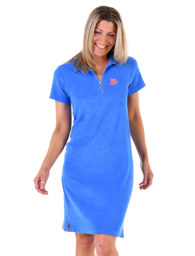 Women's Palm Tree Terry Polo Dress - Marina Blue