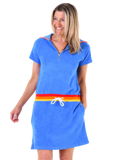 Women's Terry Towelling Hooded Dress - Marina Blue