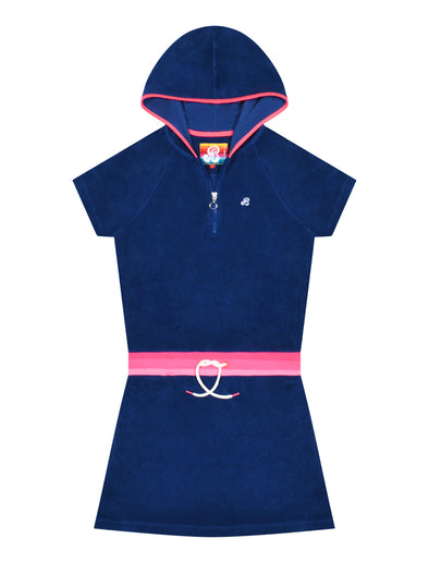 Women's Terry Towelling Hooded Dress - Twilight Blue