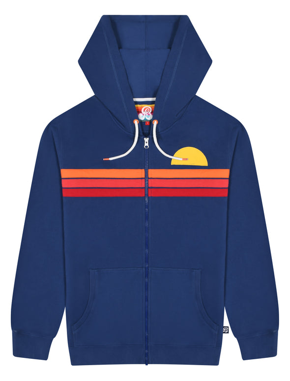 Men's Zip-Up Applique Hoodie - Twilight Blue