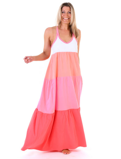 Women's Multi-Stripe Halterneck Dress - Rainbow Pink